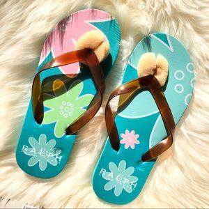 RARE Y2K Ralph Lauren vintage floral flip flops